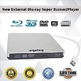 External Blu-ray DVD/BD/CD Drive Portable Blu Ray Burner USB 3.0 External 3D Blu-ray Player BD-ROM CD/DVD-ROM Writer/Rewriter CD/DVD-RW Reader for Windows, Mac OS Laptop, Computer (Silver) (Color: Silver)