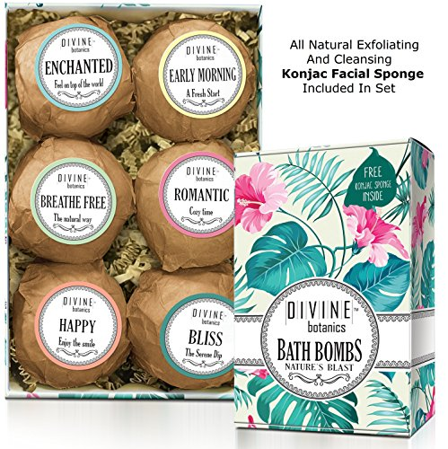 6 Xtra Large and Lush Bath Bomb Gift Set - Bath Bombs Kit Includes Konjac Sponge - Use with Bath Body Bath Bubbles and Bath Beads - USA Made Bath Basket - Unique Gift Ideas Christmas and Relaxation
