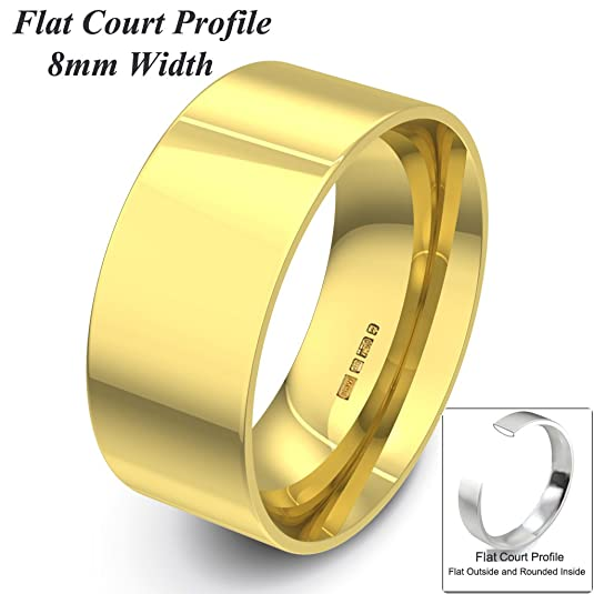 Xzara Jewellery - 9ct Yellow 8mm Flat Court Profile Hallmarked Ladies/Gents 6.7 Grams Wedding Ring Band