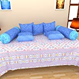 BRiDA 100% Cotton 6 Piece Diwan Set - Blue
