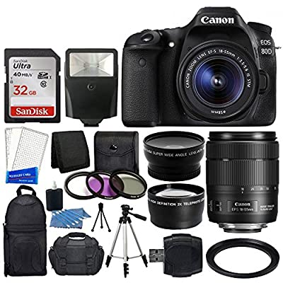 Canon EOS 80D DSLR Camera Body + Canon EF-S 18-135mm f/3.5-5.6 IS USM Lens + Wide Angle Lens & 2x Telephoto Lens + Slave Flash + 32 GB Memory Card + 3 Piece Filter Set + Complete Accessory Bundle