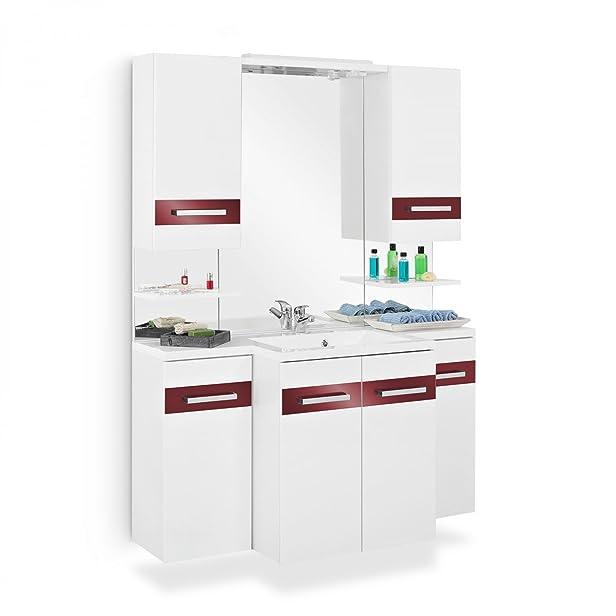 Set di mobili da bagno con lavandino armadietto specchio 2X sotto armadio scaffale 2X–Armadietto a specchio LED illuminazione bagno completo bianco lucido rosso