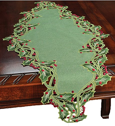 Xia Home Fashions Holiday Holly Embroidered Cutwork Table Runner, 16 By 34-Inch, Green