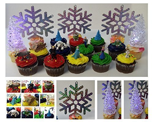 "FROZEN 17 Piece Deluxe Cupcake Birthday Party Cupcake Topper Set Featuring Decorative Snowflakes, Light Up LED Snow Trees, and 2"" Figures of Elsa, Anna, Sven, Hans, Kristoff, Olaf, Marshmallow Snow Monster, Bulda Troll, King Troll and Other Winter Themed Accessories"