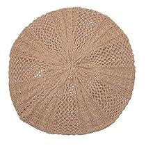 CTM® Womens Cotton Knit All Season Lightweight Beret, Beige