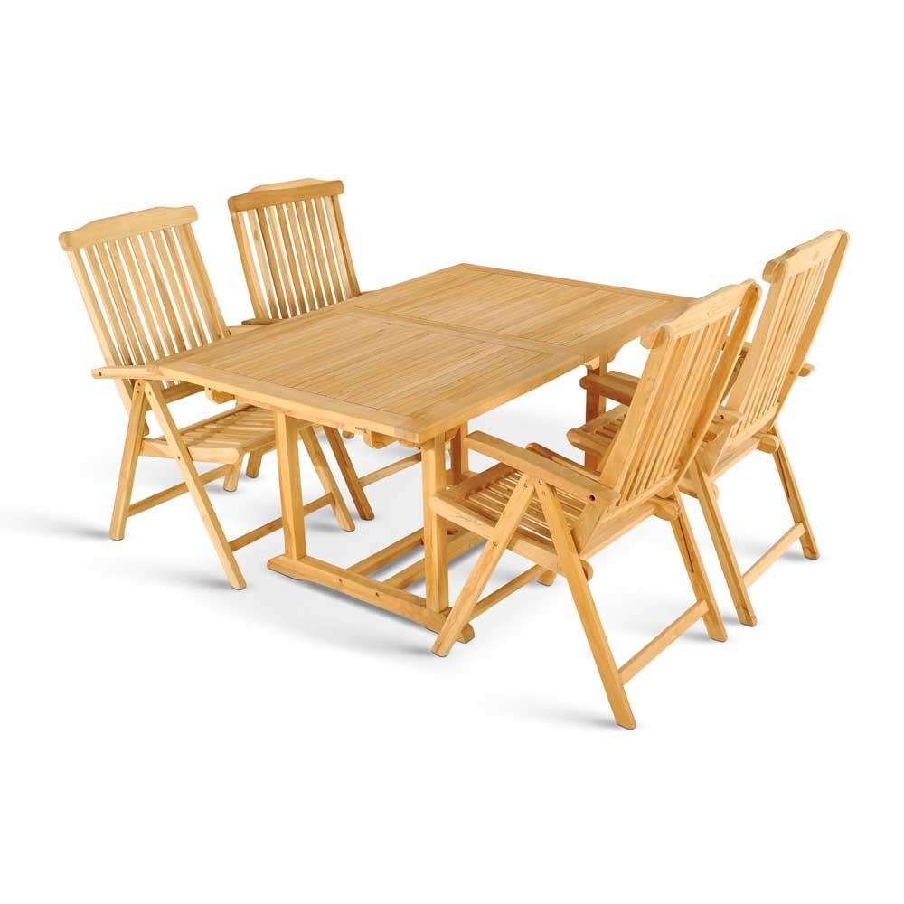 Garten Sitzgruppe aus Teak Massivholz mit Klappstühlen (5-teilig) Pharao24 online bestellen