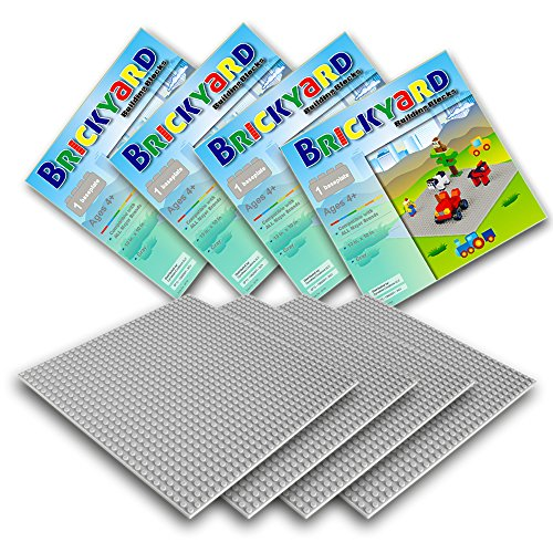 Gray Baseplates, 10 x 10 Inches Large Thick Base Plates for Building Bricks by Brickyard Building Blocks, Perfect for Activity Table or Displaying Compatible Construction Toys (4-Pack, Gray) (Creative Projects Table compare prices)