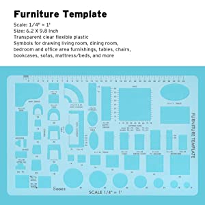Sooez Architectural Templates House Plan Template Interior Design Template Furniture Template Drawing Template Kit Drafting Tools,Silhouette Designer Edition Plus