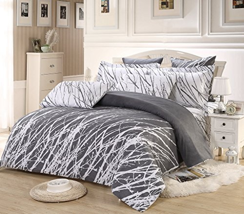 3pc Tree Duvet Cover Set: Duvet Cover and Two Pillow Shams (Grey-White, Queen)