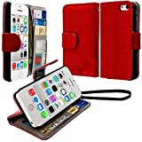 myLife (TM) Bright American Rose Red {Classic Design} Faux Leather (Card, Cash and ID Holder + Magnetic Closing + Hand Strap) Slim Wallet for the iPhone 5C Smartphone by Apple (External Textured Synthetic Leather with Magnetic Clip + Internal Secure Snap In Hard Rubberized Bumper Holder)