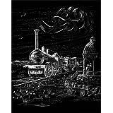 """WASO-Hobby - 4er Scrapy Kratzbilder Set - Lokomotive, Doppeldecker, Dreimaster, Hei�luftballon / Silber *Gro�*von """"WASO-Hobby"""""""