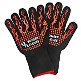 Yoheer 932F Extra-long Cut & Heat Resistant Oven Mitts with 100% Cotton Lining Good for Oven,Outdoor BBQ Grill,Fireplace Camping,Kitchen,Mechanics and so on.