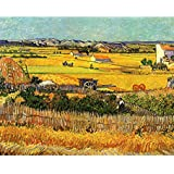Tallenge Old Masters Collection - Harvest At La Crau With Montmajour In The Background By Vincent Van Gogh - Ready To Frame Premium Quality Rolled Digital Art Print On Photographic Paper For Home And Office Décor
