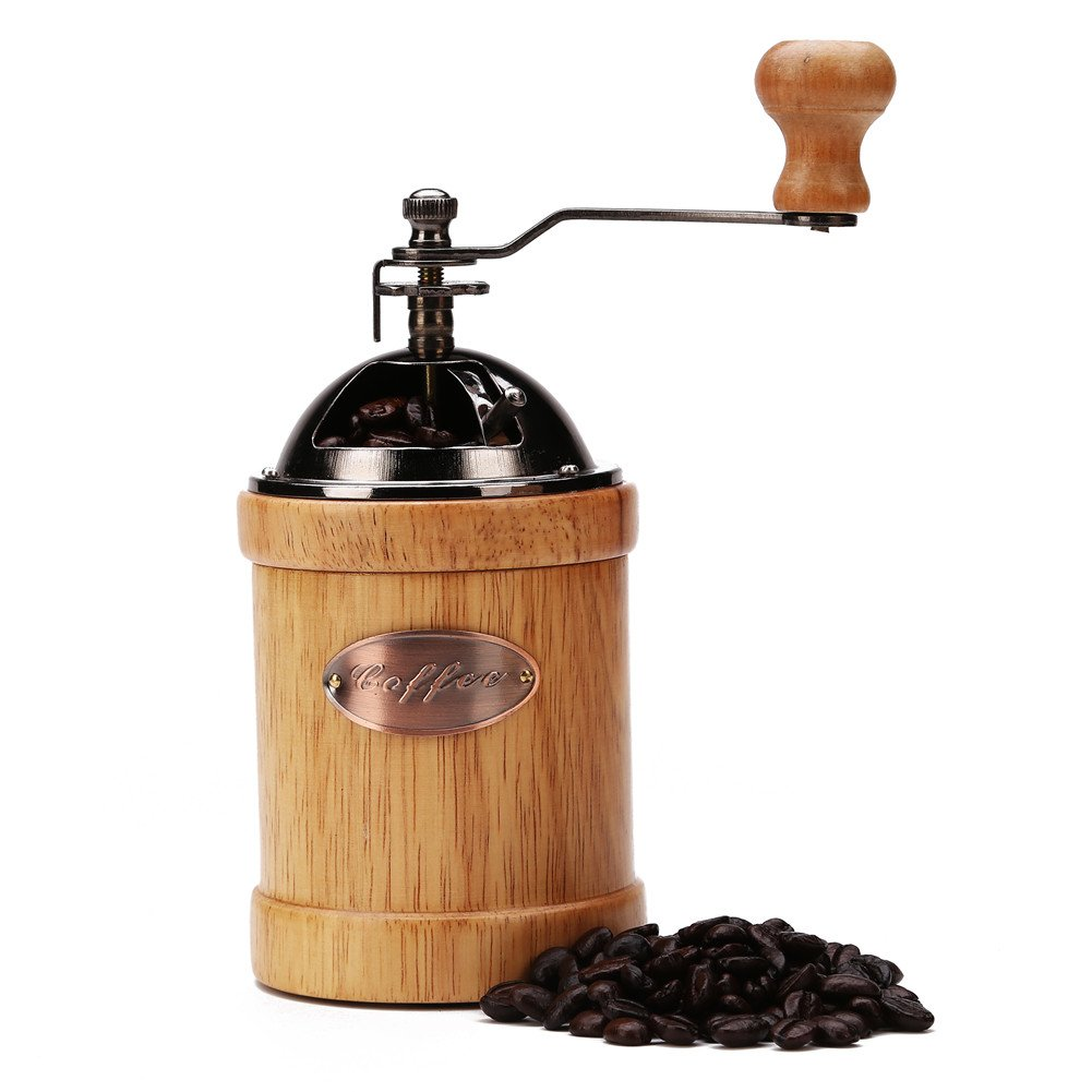 "3E Home 23-2400 Hand Crank Manual Canister Stainless Steel Burr Coffee Grinder Mill,Stainless Steel Top and Solid Wood Body,3.4"" x 6.6"", Light Yellow 1"