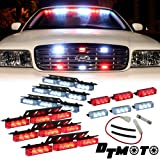 Red White 54x LED Emergency Service Vehicle Deck Grill Warning Light - 1 set