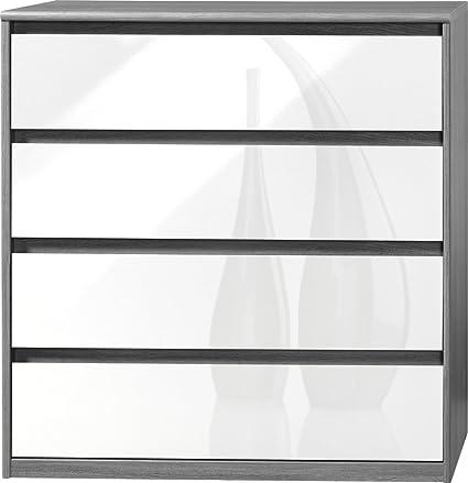 CS Schmalmöbel 75.185.074/22 Grifflose Kommode Soft Plus Smart Typ 22, 45 x 106 x 110 cm, silbereiche/weiß hochglanz