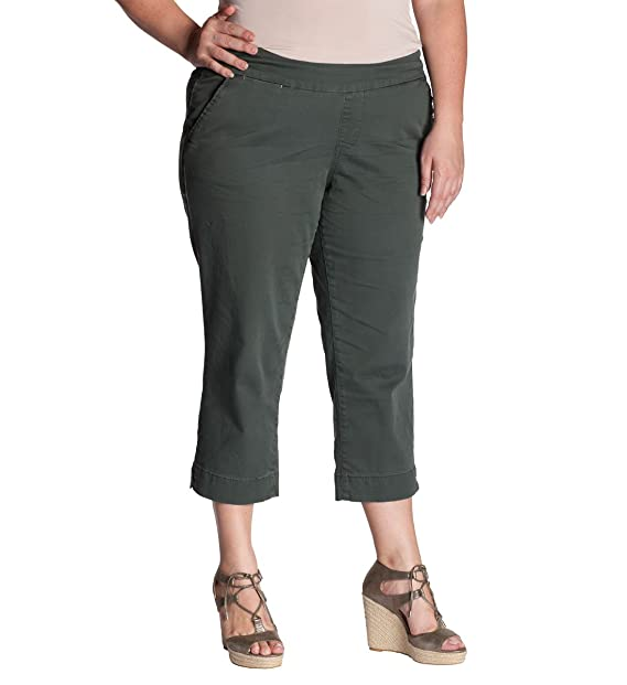 Jag Jeans Women's Plus-Size Hope Pull On Twill Crop Pant
