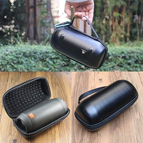 Pushingbest High Quality EVA Embossed PU Leather Hard Case Built-in Shockproof Cotton Carrying Case Pouch Bag Box for JBL Pulse 2 -Black