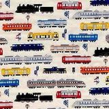 【綿二重ガーゼ・ダブルガーゼ プリント】電車だらけ!(Wガーゼ ヴァージョン) 2色あります 1m単位で切り売りいたします (ベージュ系)