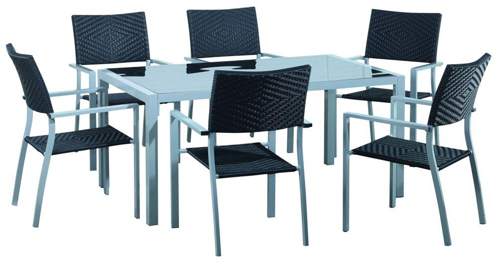 Gartenmöbel Garnitur Anessa – 1 Tisch und 6 Stapelstühle jetzt kaufen