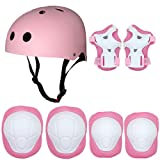Kids Sports Knees Elbows Wrists Head Support Protection Helmet Set for Unisex Toddler Children Extreme Sports Youth Roller Bicycle BMX Bike Skateboard Protector Guards Pads -7Pcs(Pink) (Color: Pink, Tamaño: 3 PCS + Helmet)