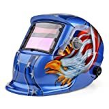 Flexzion Welding Helmet Auto Darkening Mask Hood (Eagle US), Solar Powered Shield Equipment with Weld & Grind Modes Manual Adjustable Shade Range 9-13 for Arc Gas Tig Mig Mma Grinding Plasma Cut (Color: Blue Eagle)