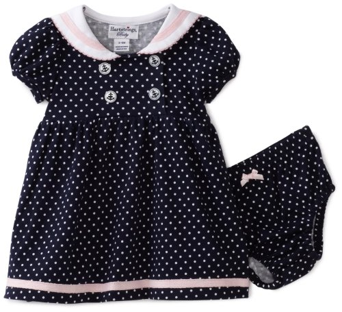 Buy Hartstrings Baby-girls Newborn Interlock Polka Dot Sailor Dress, Nvy W/wht Do, 3-6 Months