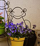 SparkWorks Frog Plant Stand with Weather Resistant Finish. Includes 3 Eco and Environmentally Safe Plant Fiber Flowerpots. The SMILEY Frog Loved By All
