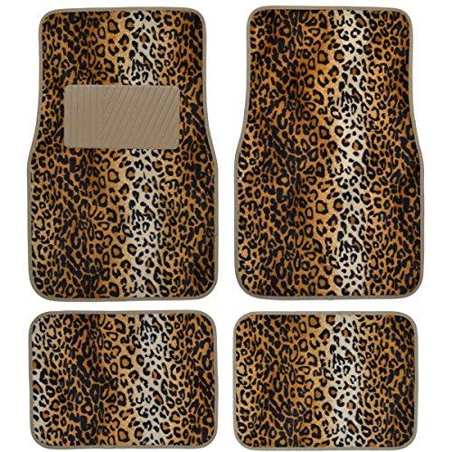 bdk carpeted 4 piece mat leopard animal print auto car vehicle universal fit beige vehicles. Black Bedroom Furniture Sets. Home Design Ideas