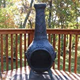 Outdoor-Chimenea-Fireplace-Rose-in-Antique-Green-Finish-Without-Gas