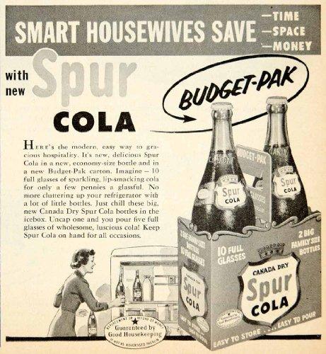 1953-ad-canada-dry-spur-cola-soft-drinks-soda-pop-beverage-budget-pak-carton-original-print-ad