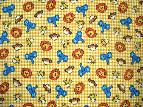 Sheetworld Fitted Pack N Play (Graco) Sheet - Safari Animals Yellow Check - Made In Usa