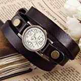 Ailisha Bronze Lady Wrap Bracelet Bangle Coffee Leather Quartz Wrist Watch WAA384