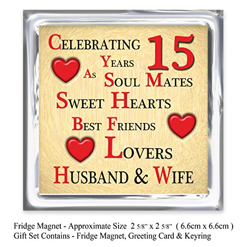 Our 15th Wedding Anniversary Gift Set - Card, Keyring & Fridge Magnet ...