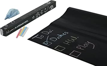 Kassa Wall Sticker Chalkboard Contact Paper Black - 5 Colored Chalks and Eraser Cloth Included - Bla