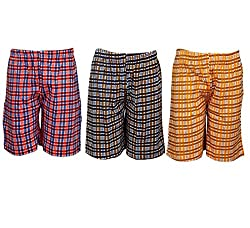 Spictex Boys' Cotton Shorts (Pack Of 3) (SPIC-CT142-PC3-06_Multicolor_8 Years - 9 Years)