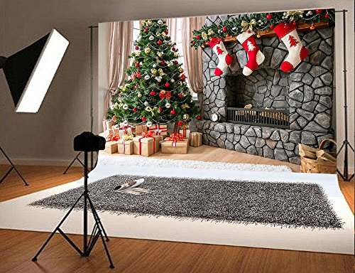 6.5ft(w)x5ft(h) Christmas Photography Backdrop for Children Christmas Tree and Three Gift Socks Hang Fireplace Photo Background F1782