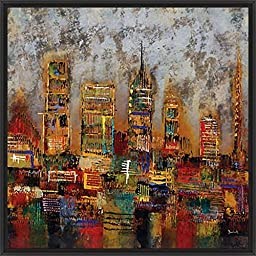 28in x 28in City Lights I by Dominick - Black Floater Framed Canvas w/ BRUSHSTROKES
