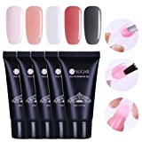 UR SUGAR 30ml Poly Quick Gel Nail Extension Builder Gel Lasting Finger Transparent Crystal Jelly Professional French Design Requires UV Lamp for Poly Manicure 5Pcs Starter Set
