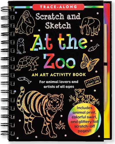At the Zoo: An Art Activity Book for Animal Lovers and Artists of All Ages [With Wooden Stylus] (Trace-Along Scratch and Sketch)