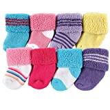 Luvable Friends 8 Pack Newborn Socks, Bright Pink, 0-6 Months