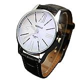 Clearance!!! Fashion Elegant Mens Watch Quartz Analog Business Leisure Wristwatch Brown Band White Dial (Black 2) (Color: Black 2, Tamaño: Adjustable)
