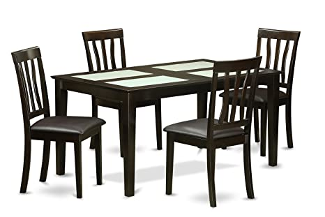 East West Furniture CAAN5G-CAP-LC 5-Piece Formal Dining Room Table Set