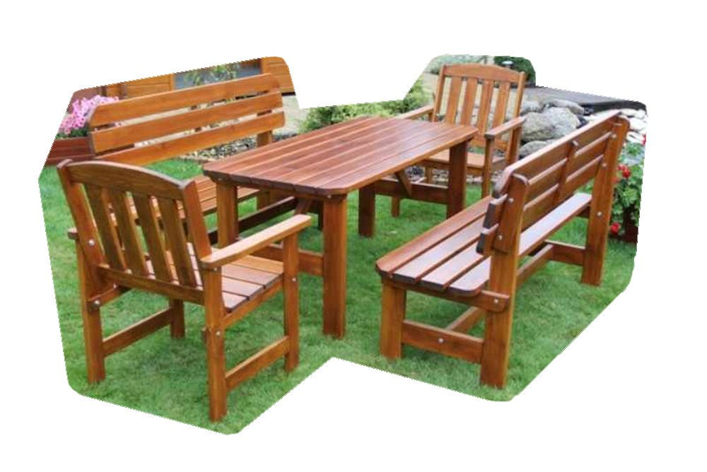 """Massivholz Garten Sitzgruppe """"ORB-3"""" , Kiefer , unlackiert , Holzdicke 32/28 mm , 2 Gartenbänke , 2 Sessel und Massivholztisch günstig online kaufen"""