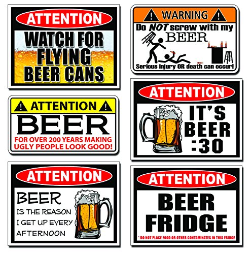 Funny BEER Warning Decal Sticker 6 SIX PARTY JOKE PACK SET (Beer Cooler Sticker compare prices)