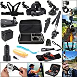EEEKit 17-in-1 Holiday Travel Kit for GoPro Hero 4 Silver Black/GoPro Hero HD 3+/ 3 Camera, Large EVA Shock proof Carry Case + Adjustable Head Strap + Chest Mount Harness + Extendable Handheld Monopod + Floating Handle Grip Pole + Car Suction Cup Mount Holder + 360 Rotary Clip Mount + 360 Rotation Wrist Holder + Mini Tripod Stand Holder + Wrench Spanner Screw Tool + 2 PCS Tripod Mount Adapter+2 PCS Gopro Surface J-Hook + 2 USB Ports Car Charger 2A + Dual USB AC Charger 5V 2.1A/1A + EEEKit Pouch