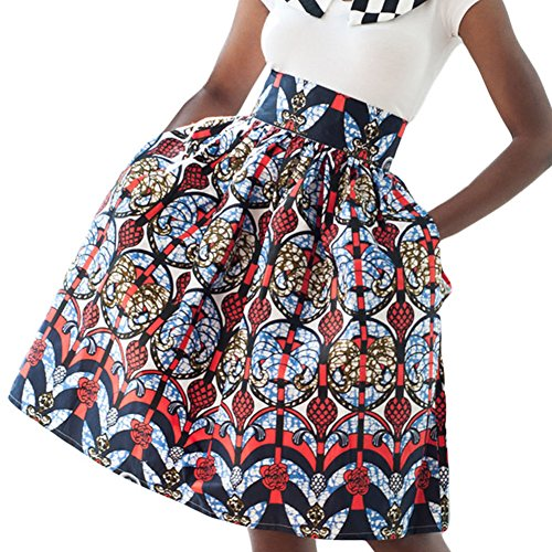 Womens-Ethnic-Plus-Size-African-Print-High-Waist-Pleated-Midi-A-line-Skirt