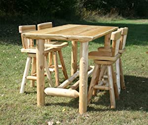 cedar lake cabin log pub table log kitchen