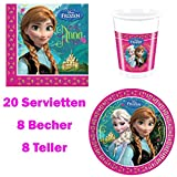Disney Eiskönigin Frozen: 36-teiliges Set, Teller, Servietten und Becher