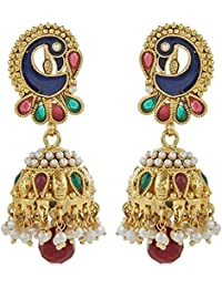 The Jewelbox Gold Plated Pearl Red Green Peacock Mayur Ethnic Jhumki Earring For Women
